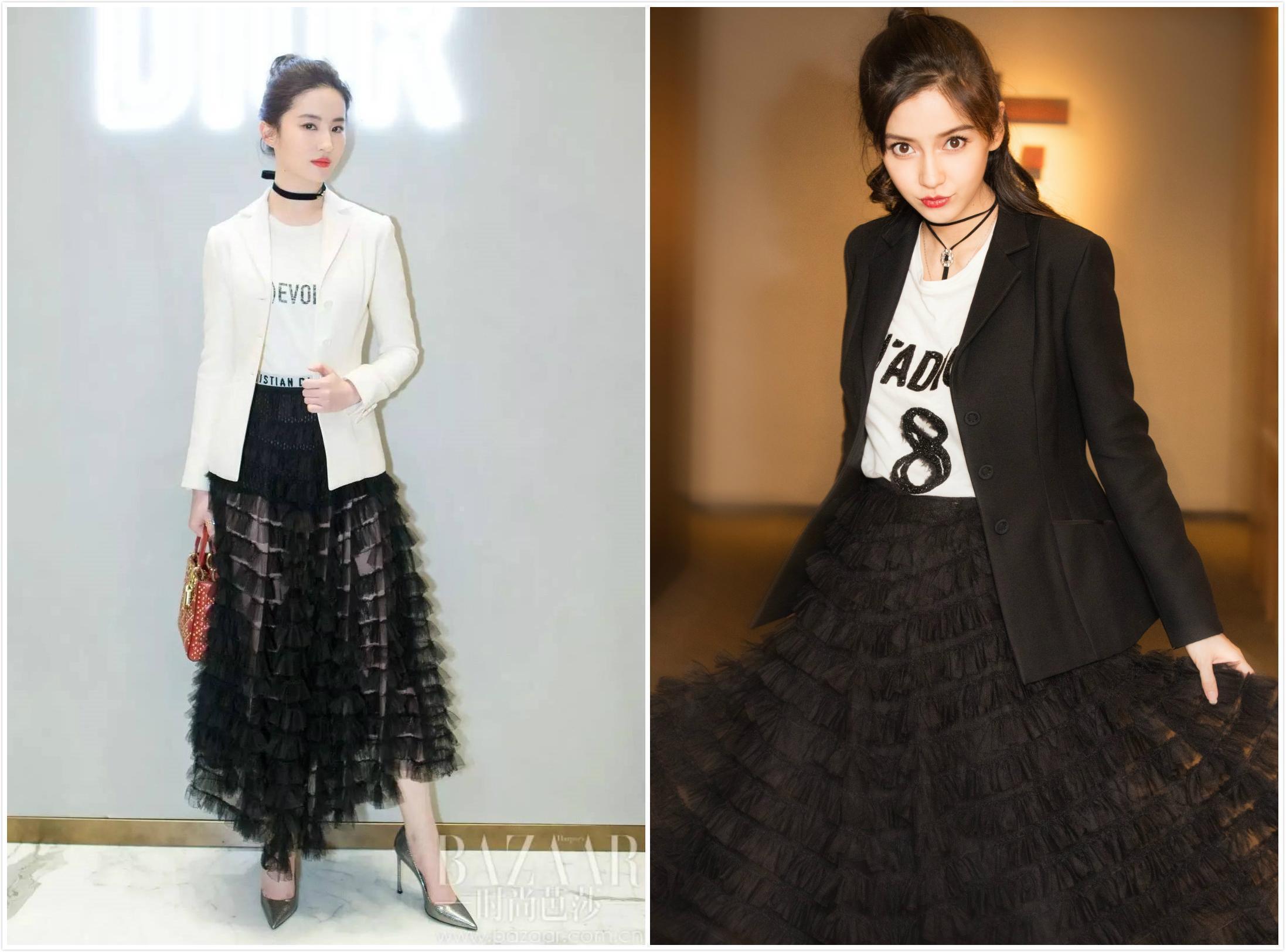 刘亦菲、baby撞衫5条Dior裙子!baby赢在骨架,刘亦菲只能靠肤色了-第1张图片