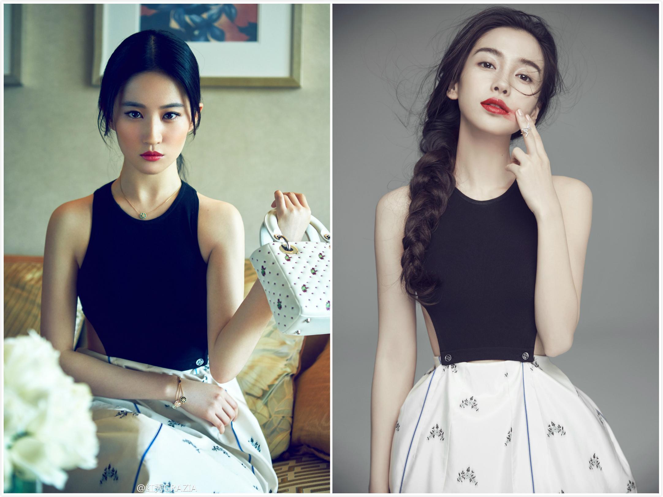 刘亦菲、baby撞衫5条Dior裙子!baby赢在骨架,刘亦菲只能靠肤色了-第2张图片