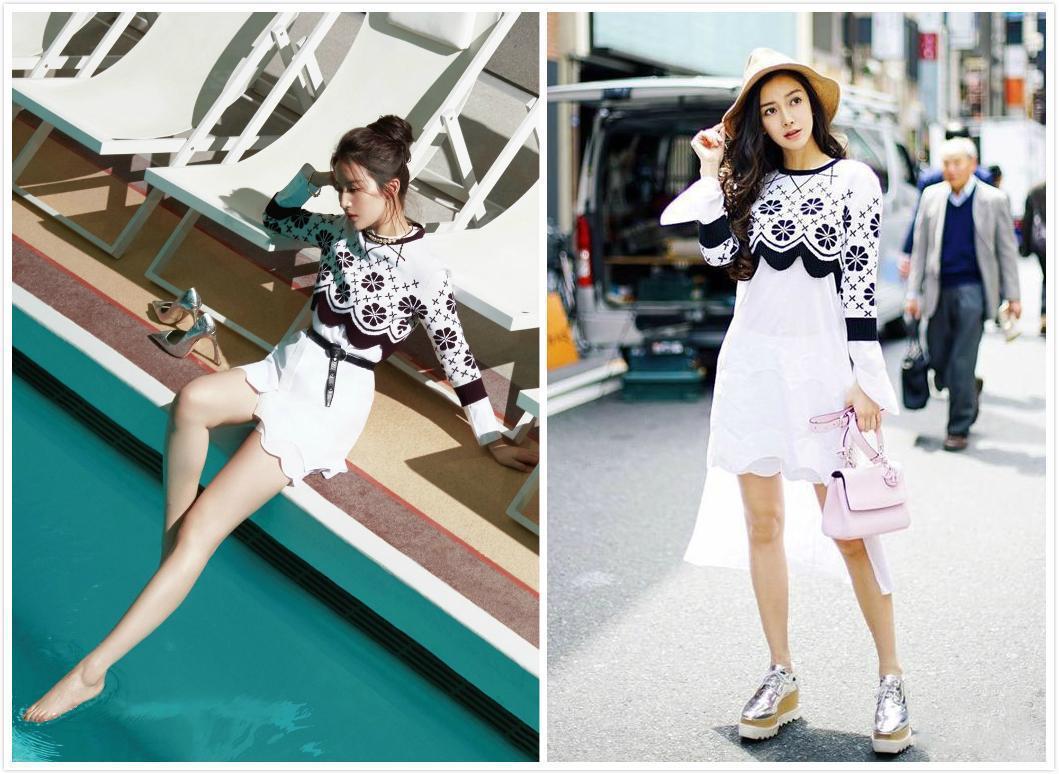 刘亦菲、baby撞衫5条Dior裙子!baby赢在骨架,刘亦菲只能靠肤色了-第4张图片